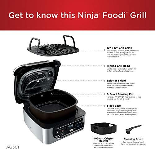 Ninja Foodi AG301 Parrilla eléctrica para interiores 5 en 1 con freidora de aire de 4 cuartos de galón, asado, horneado, deshidratado y tecnología de parrilla ciclónica 4