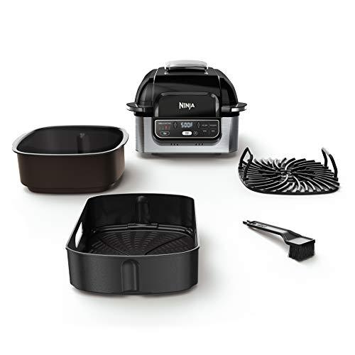 Ninja Foodi AG301 Parrilla eléctrica para interiores 5 en 1 con freidora de aire de 4 cuartos de galón, asado, horneado, deshidratado y tecnología de parrilla ciclónica 11
