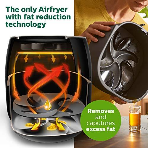 Philips Airfryer digital premium con tecnología para quemar grasa con libro de cocina Bonus 150+, 3 cuartos de galón, negro HD9741 / 99 2