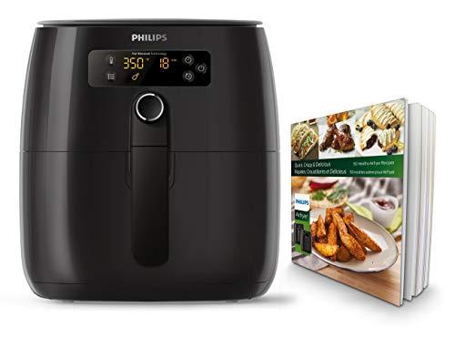 Philips Airfryer digital premium con tecnología para quemar grasa con libro de cocina Bonus 150+, 3 cuartos de galón, negro HD9741 / 99 12