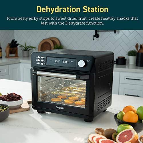 COSORI Smart 12 in 1 freidora de aire para horno, deshidratador de encimera para pollo, pizza y galletas, regalo de Navidad, recetas y accesorios incluidos, funciona con Alexa, 25 L, negro 7
