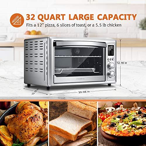 CROWNUL - Freidora de aire y tostador, horno tostador de convección de 32 cuartos con asador y deshidratador, accesorios y receta incluidos (idioma español no garantizado), certificado ETL 5