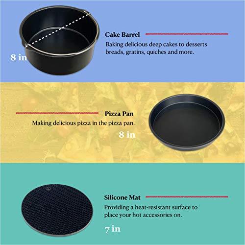 Accesorios para freidora de aire Phillips Nuwave Gowise Gourmia Ninja Dash Air Freidora XL de 5.3-8QT con bandeja de 8 pulgadas, bandeja de pizza, taza de silicona para hornear, estante para brochetas, papel de pergamino 3