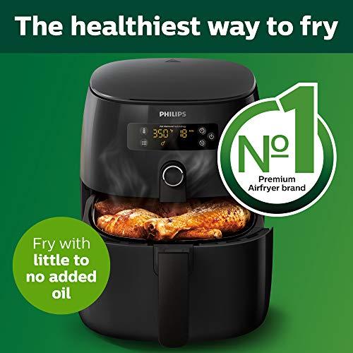 Philips Airfryer digital premium con tecnología para quemar grasa con libro de cocina Bonus 150+, 3 cuartos de galón, negro HD9741 / 99 1