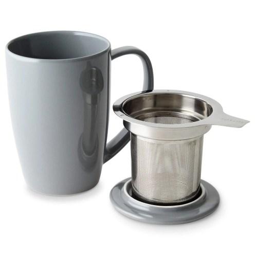 gray mug with metal infuser and lid
