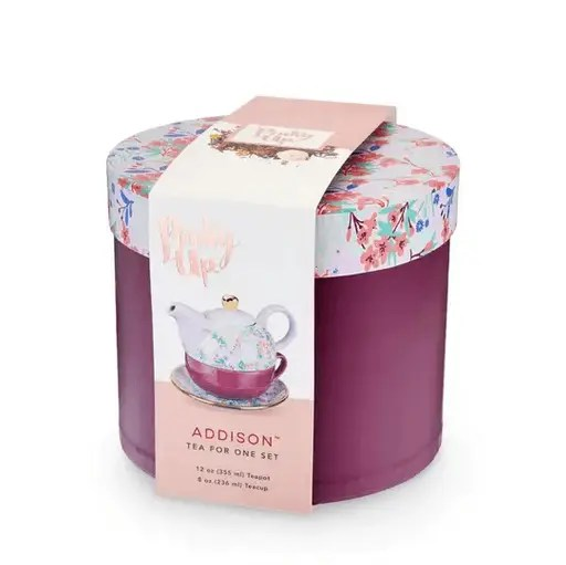 "small box containing the addison teapot in design style ""wildflower purple"""