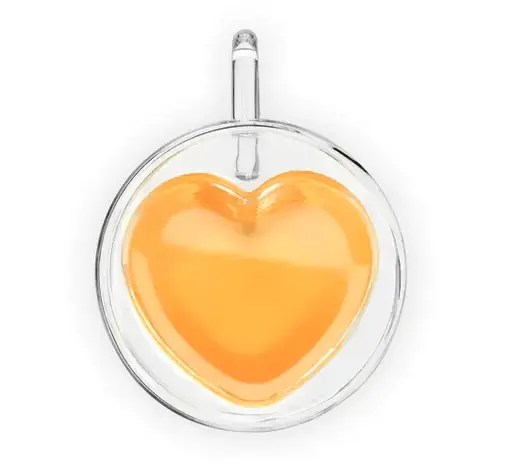 double walled glass mug that is shaped like a heart inside. when filled with tea, it looks in the shape of a heart.