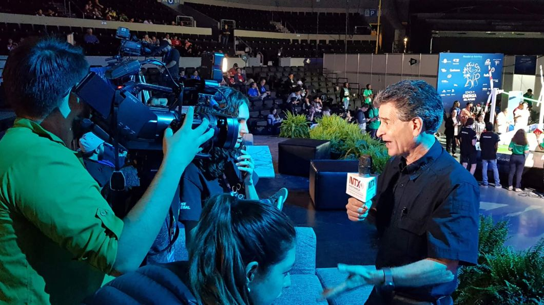 Dean Kamen being interviewed.
