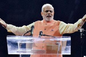 New York: Prime Minister Narendra Modi gestures while addressing the audience during a reception organised in his honour by the Indian American Community Foundation at Madison Square Garden in New York on Sunday