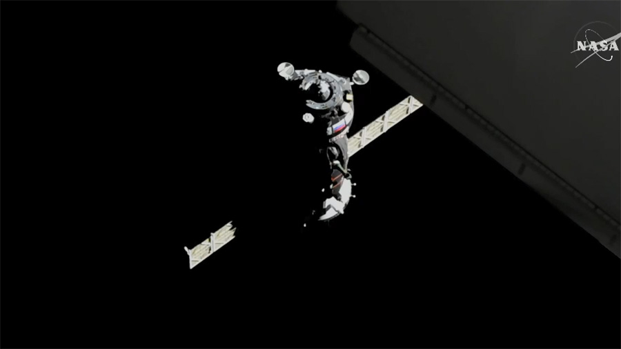 Three crew members finally arrived on Space Station on March 23 after a two-day long trip