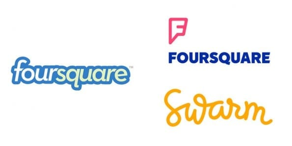 Foursquare old new logo swarm