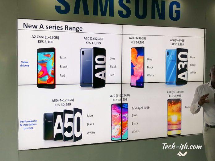 Samsung A-series 2019 Kenya Lineup
