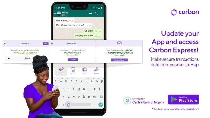 Carbon loan app launches Keyboard Extension to allow access while using any apps