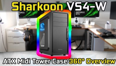 Sharkoon Mid Tower Case VS4-W with Side Window 360° Overview (No Commentary)