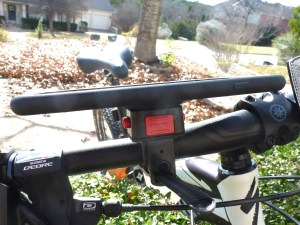 Bike Mount with MountCase 2: View from the Front with Lock Button Visible