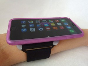ZeroChroma Armband with Vario Protect case for iPhone 6 Plus on my arm in landscape orientation
