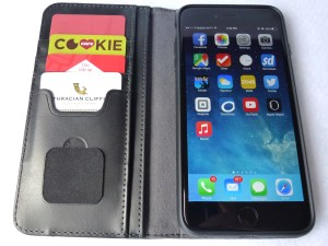 Moshi Overture Wallet for iPhone 6 Plus: Front Open View with Cards