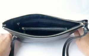 Mighty Purse- Open View-  Battery is in the center zip pocket