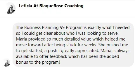 Leticia Testimonial Business Planning 99