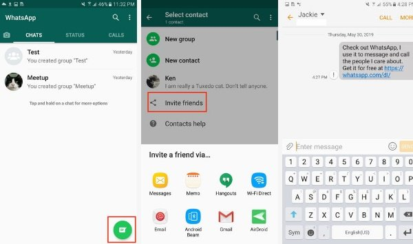 How to invite your friend to WhatsApp on Android
