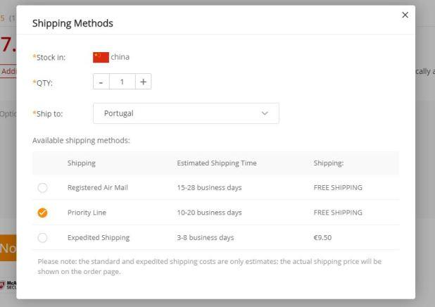 GearBest - métodos de envio para Portugal
