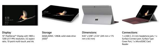 Microsoft Surface Go - especificações