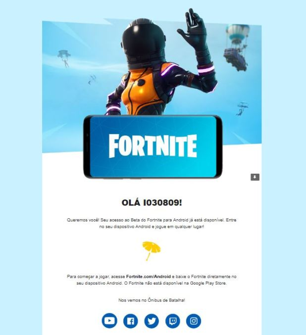 Convite para jogar Fortnite - OnePlus 6