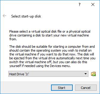 Escolha de CD/DVD ou ficheiro .ISO