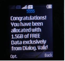 Dialog 4G sim upgraded won 1.5GB