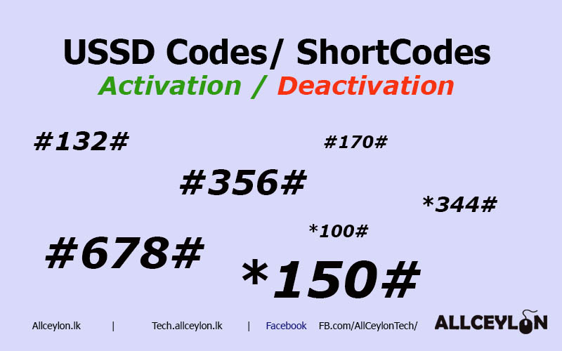 Dialog USSD Codes ( Short Code) and SMS Activation