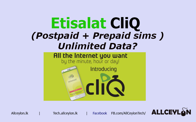 Etisalat Cliq Unlimited Data for Prepaid & Postpaid