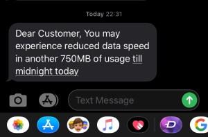 Notification Alert for 750 MB warning mobitel