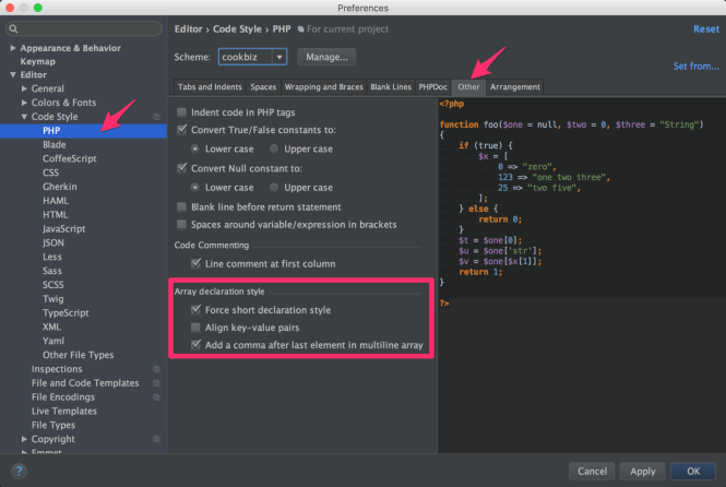 PhpStorm - Preferences - Code Style