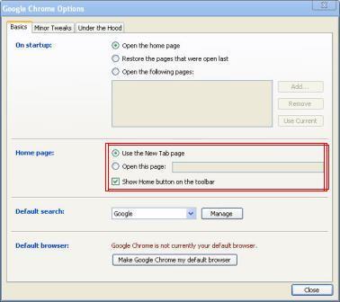 Google Chrome - How to show home botton