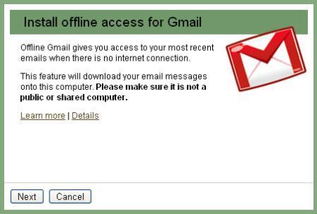 Enabling Gmail offline