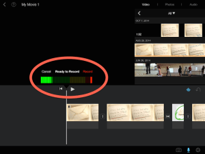 Click the microophone icon to record your own audio. You can listen to it after recording and even re-do it before accepting the take.