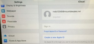 Settings --> iCloud. Either Login, or Create a new account. tech.mountdesales.net has details - search for iCloud.