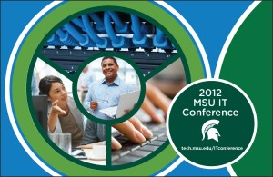 IT Conference graphic comprised of technology images