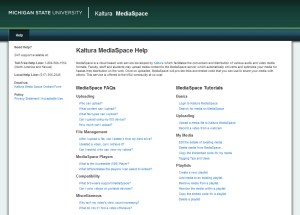 Screen capture of Kaltura MediaSpace Help site