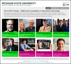 Website screen capture of the 2013 MSU Instructional Technology Awards