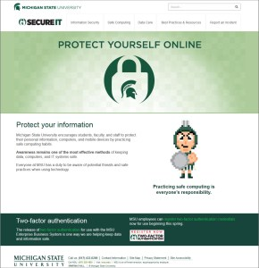 Screen capture of the MSU SecureIT website at secureit.msu.edu.
