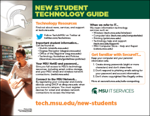 Image of the MSU oreintation new student technology guide handout