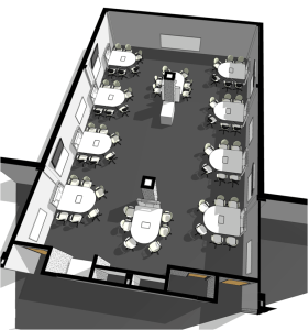 Drawing for the layout for an MSU Room for Engaged and Active Learning space