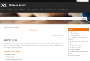 Screenshot of the D2L Grades Resource Center