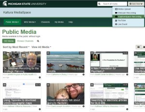 Screen capture of the MediaSpace site at mediaspace.msu.edu and the Add New menu witht he CaptureSpace Recording item to choose for the lecture capture tool.