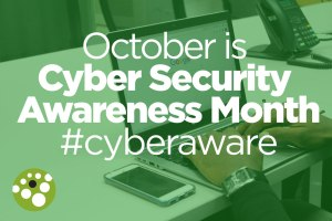 Hands on computer. Octber is Cyber Security Awareness Month