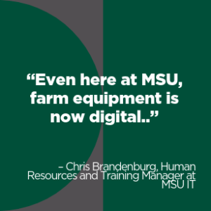 A quote from Chris Brandenburg about technology in farm equipment.