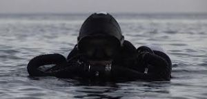 Rebreather Diver on Surface