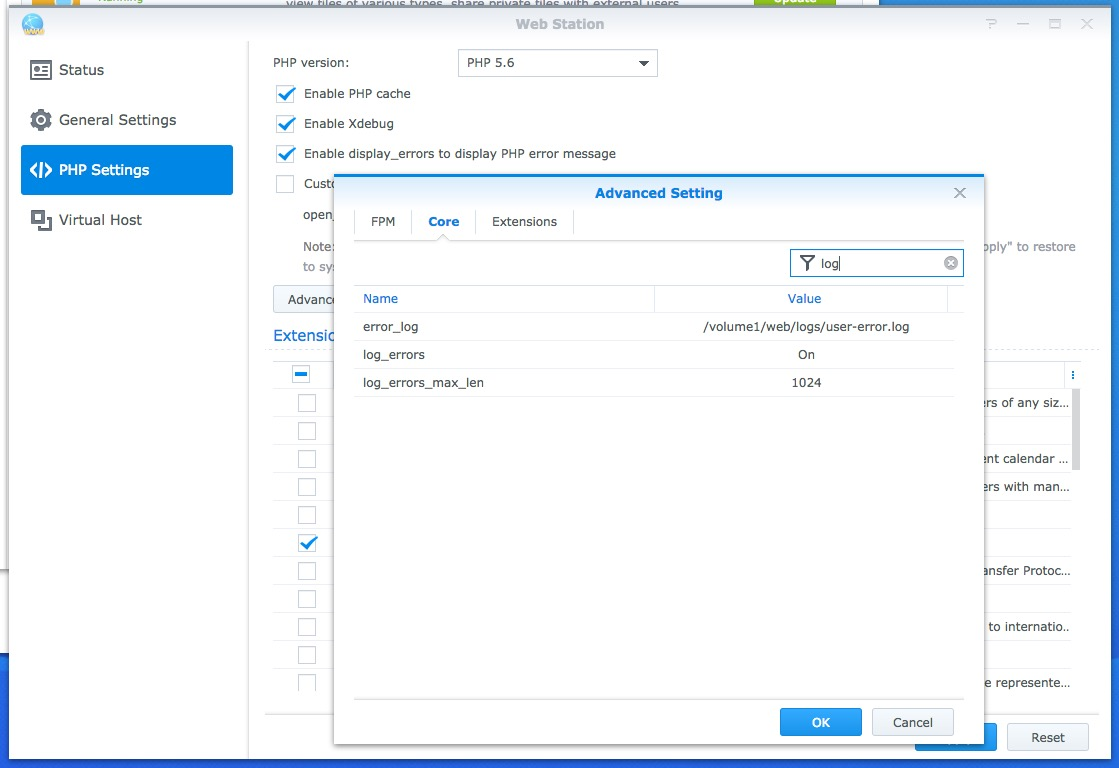 Synology DSM 6 1 Web Station Virtual Hosts and Logs settings