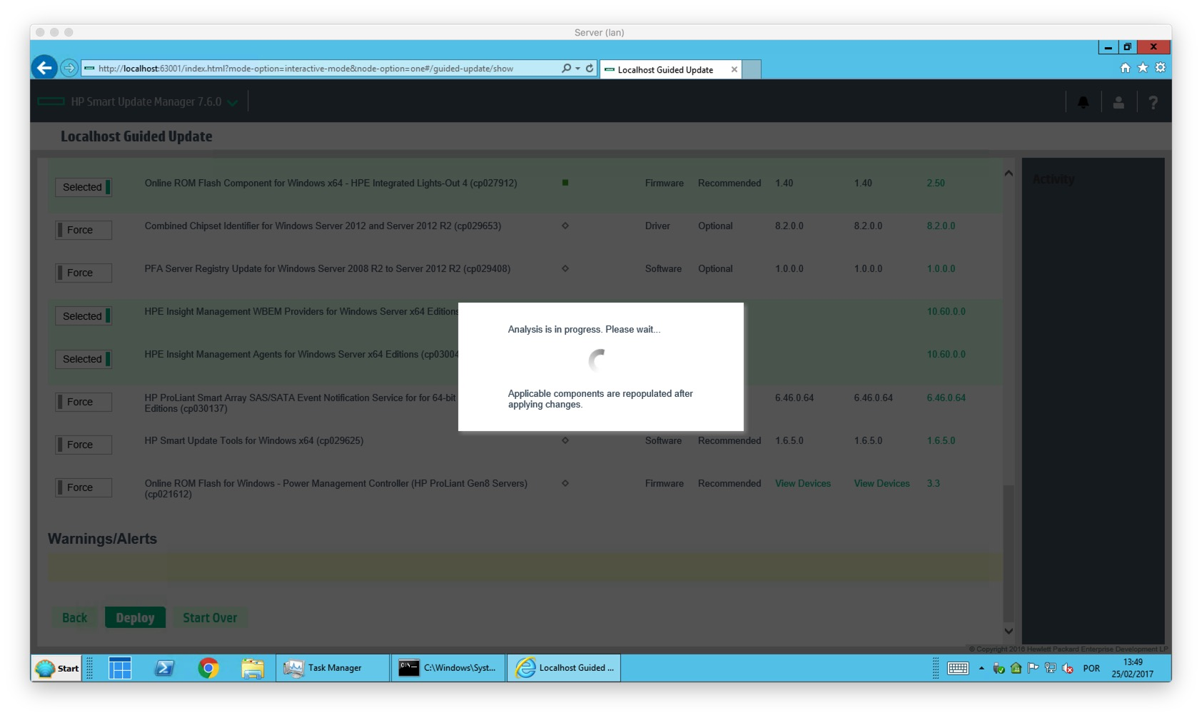HP Smart Update Manager – Server Update to HP SUM 7 6 0